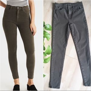 AMERICAN EAGLE Skinny High Rise Jeans Olive 4